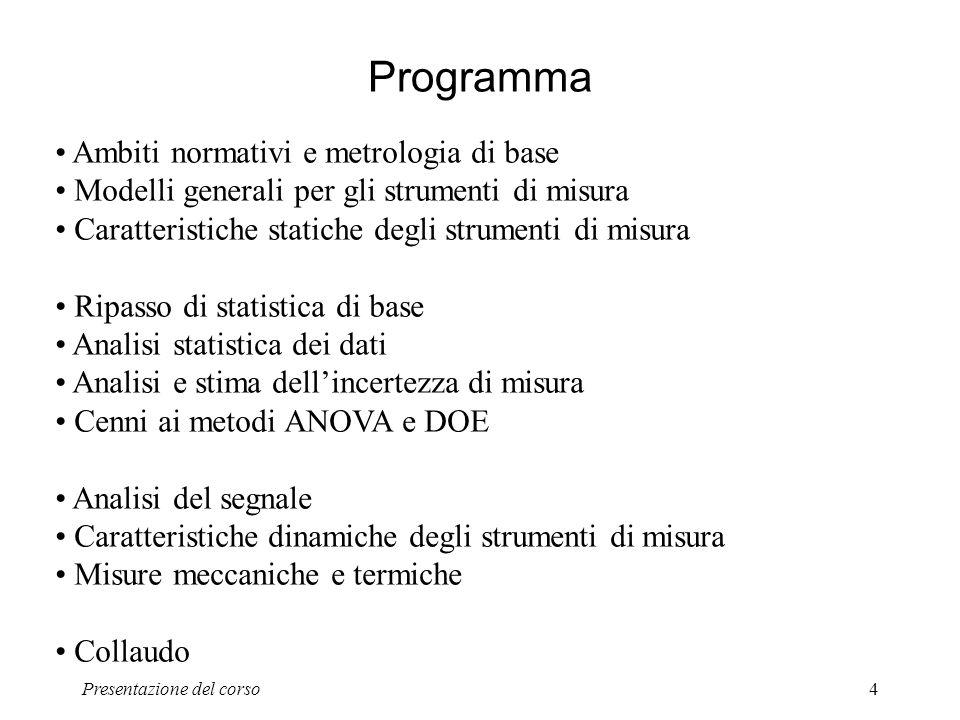 Presentazione del corso4 Programma Ambiti normativi e metrologia di base Modelli generali per gli strumenti di misura Caratteristiche statiche degli s