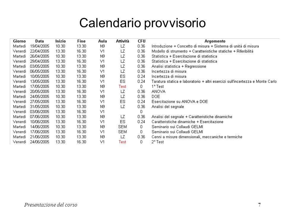 Presentazione del corso7 Calendario provvisorio