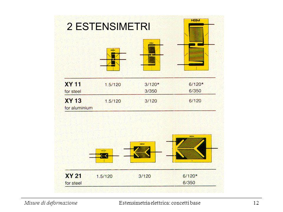 Misure di deformazione12 2 ESTENSIMETRI Estensimetria elettrica: concetti base