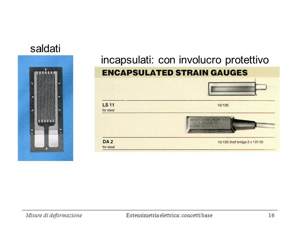 Misure di deformazione16 saldati incapsulati: con involucro protettivo Estensimetria elettrica: concetti base