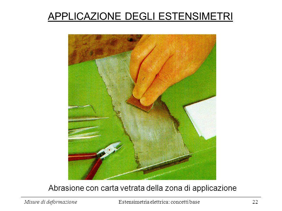Misure di deformazione22 Abrasione con carta vetrata della zona di applicazione APPLICAZIONE DEGLI ESTENSIMETRI Estensimetria elettrica: concetti base
