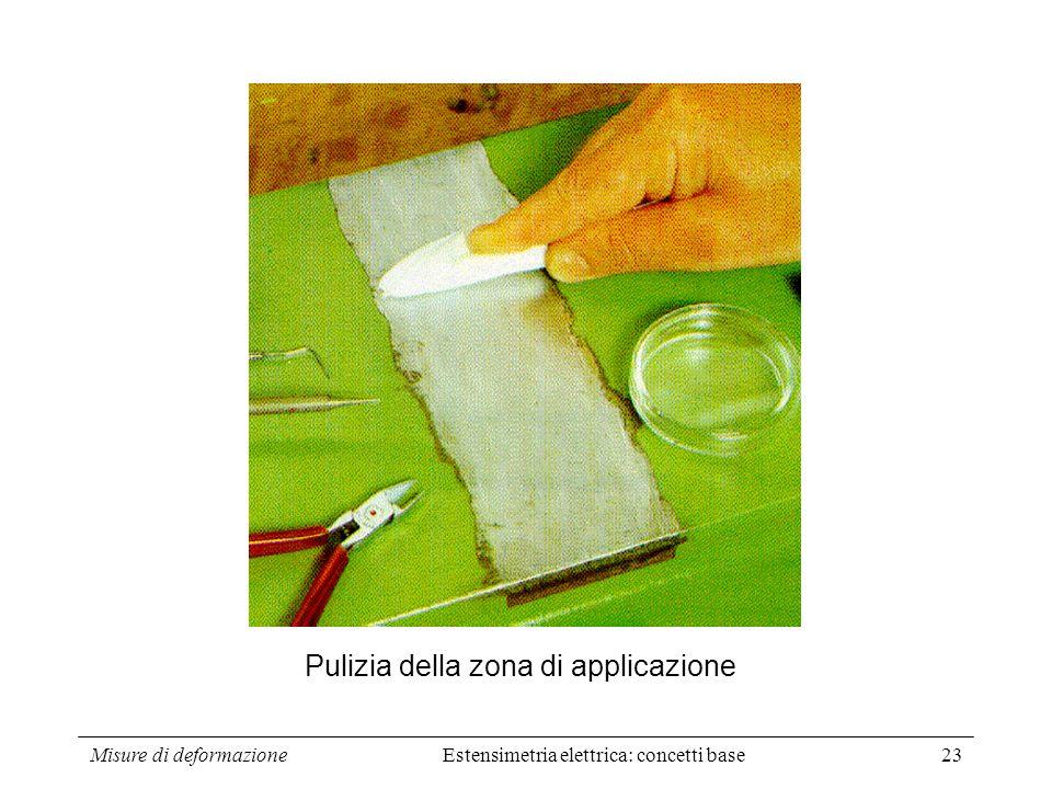 Misure di deformazione23 Pulizia della zona di applicazione Estensimetria elettrica: concetti base