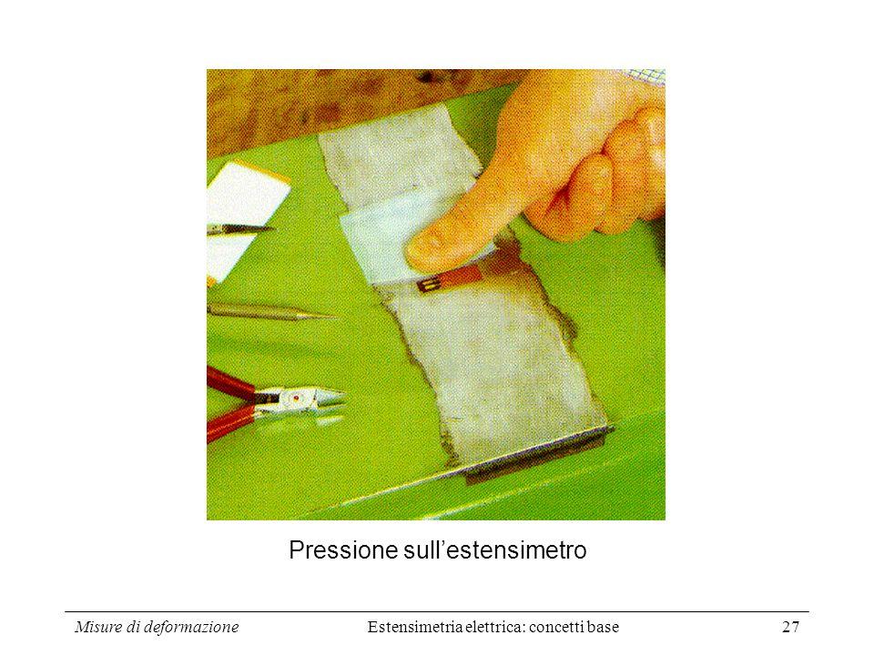 Misure di deformazione27 Pressione sullestensimetro Estensimetria elettrica: concetti base