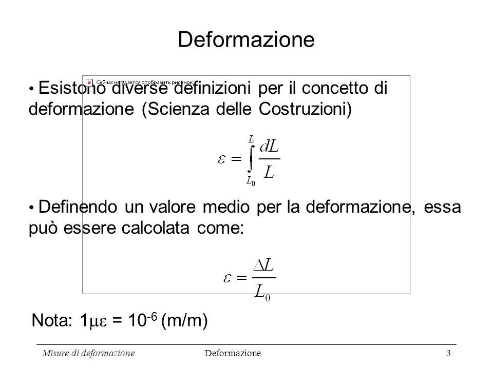 Misure di deformazione3 Esistono diverse definizioni per il concetto di deformazione (Scienza delle Costruzioni) Deformazione Definendo un valore medi