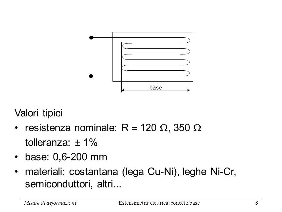 Misure di deformazione19 Ma: Sostituendo nella (2): (6) (7) (8) Dividendo membro a membro la (8) per la (1): (9) Dunque: GAGE FACTOR Effetto dellallungamento Effetto del mutamento di area Effetto piezoresistivo Valore tipico: k=2 (per leghe metalliche).