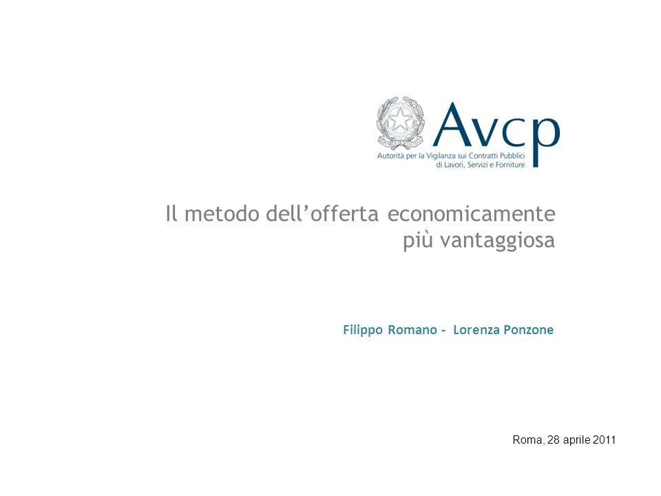 Filippo Romano - Lorenza Ponzone Il metodo dellofferta economicamente più vantaggiosa Roma, 28 aprile 2011