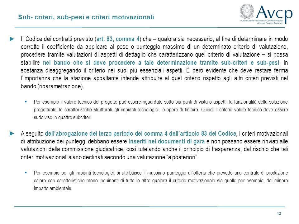 Sub- criteri, sub-pesi e criteri motivazionali 13 Il Codice dei contratti previsto ( art. 83, comma 4 ) che – qualora sia necessario, al fine di deter