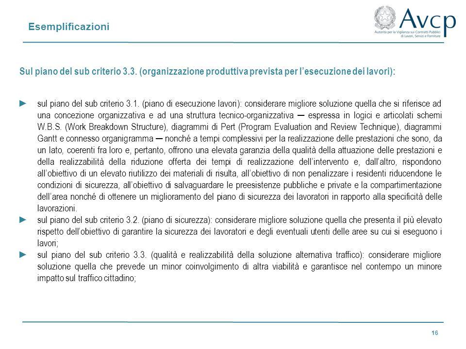 Esemplificazioni 16 Sul piano del sub criterio 3.3. (organizzazione produttiva prevista per lesecuzione dei lavori): sul piano del sub criterio 3.1. (