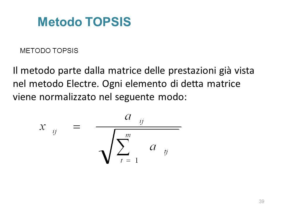 39 Metodo TOPSIS Il metodo parte dalla matrice delle prestazioni già vista nel metodo Electre. Ogni elemento di detta matrice viene normalizzato nel s