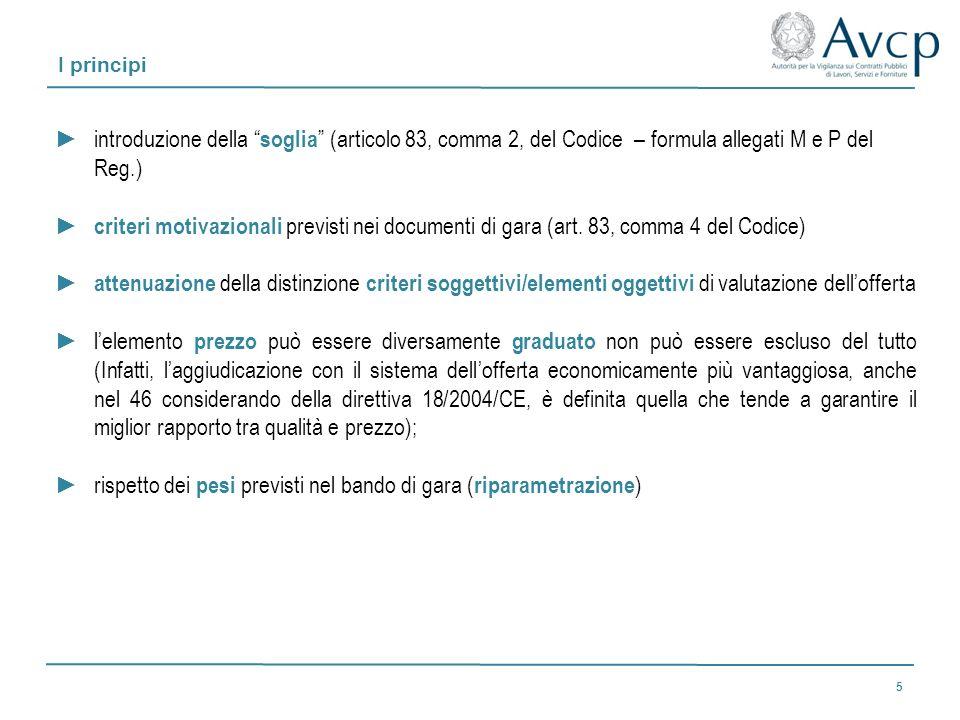 I principi introduzione della soglia (articolo 83, comma 2, del Codice – formula allegati M e P del Reg.) criteri motivazionali previsti nei documenti