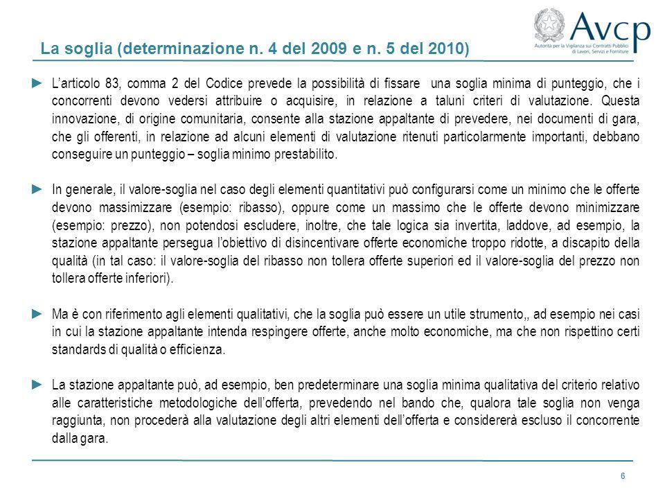 La soglia (determinazione n. 4 del 2009 e n. 5 del 2010) Larticolo 83, comma 2 del Codice prevede la possibilità di fissare una soglia minima di punte
