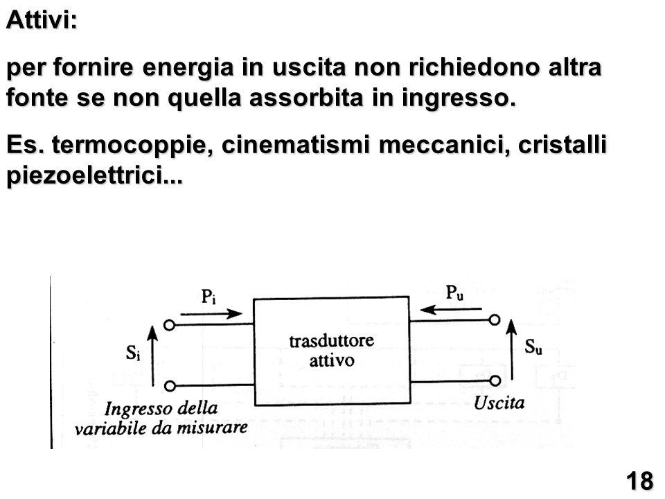 Attivi: per fornire energia in uscita non richiedono altra fonte se non quella assorbita in ingresso. Es. termocoppie, cinematismi meccanici, cristall