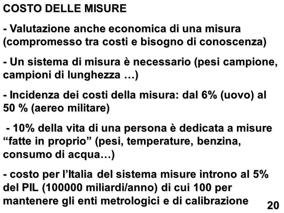 COSTO DELLE MISURE - Valutazione anche economica di una misura (compromesso tra costi e bisogno di conoscenza) - Un sistema di misura è necessario (pe