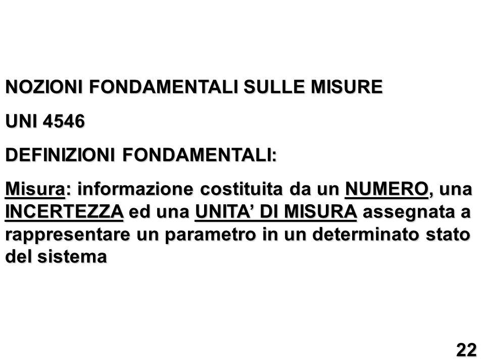 NOZIONI FONDAMENTALI SULLE MISURE UNI 4546 DEFINIZIONI FONDAMENTALI: Misura: informazione costituita da un NUMERO, una INCERTEZZA ed una UNITA DI MISU