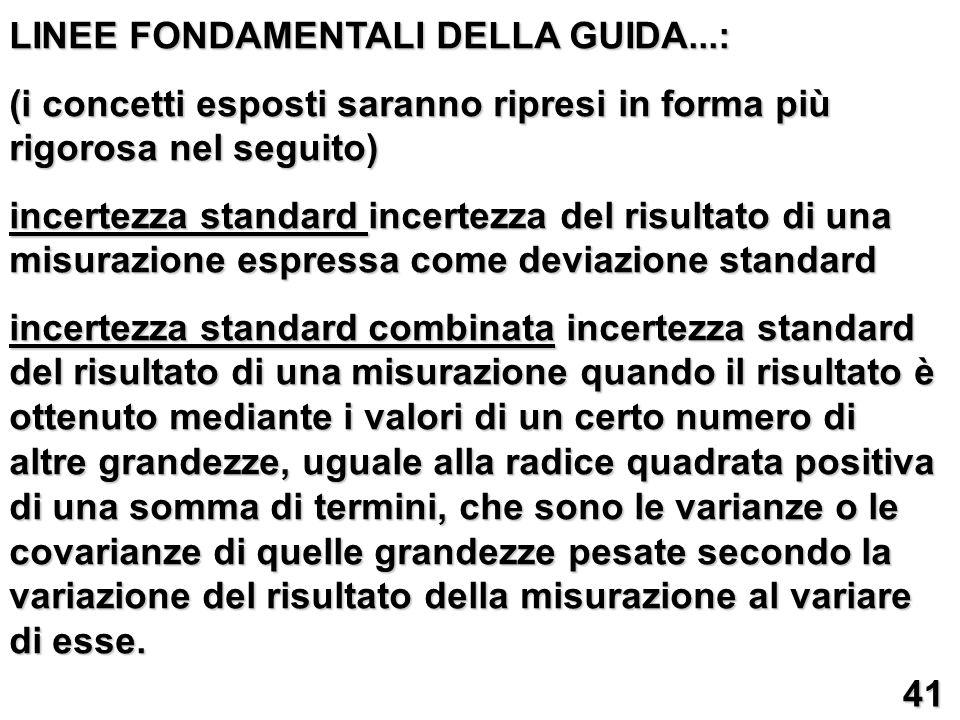 LINEE FONDAMENTALI DELLA GUIDA...: (i concetti esposti saranno ripresi in forma più rigorosa nel seguito) incertezza standard incertezza del risultato