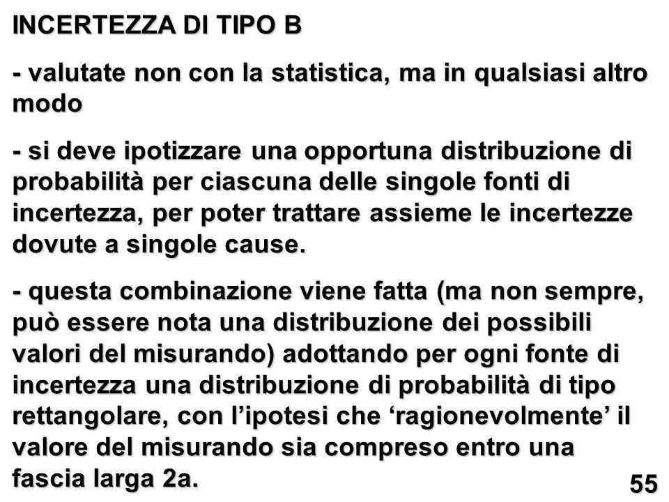 INCERTEZZA DI TIPO B - valutate non con la statistica, ma in qualsiasi altro modo - si deve ipotizzare una opportuna distribuzione di probabilità per ciascuna delle singole fonti di incertezza, per poter trattare assieme le incertezze dovute a singole cause.