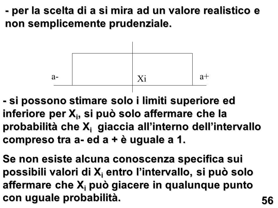 - per la scelta di a si mira ad un valore realistico e non semplicemente prudenziale. - si possono stimare solo i limiti superiore ed inferiore per X