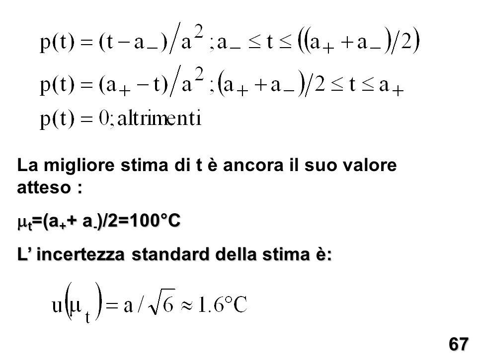 La migliore stima di t è ancora il suo valore atteso : t =(a + + a - )/2=100°C t =(a + + a - )/2=100°C L incertezza standard della stima è: 67