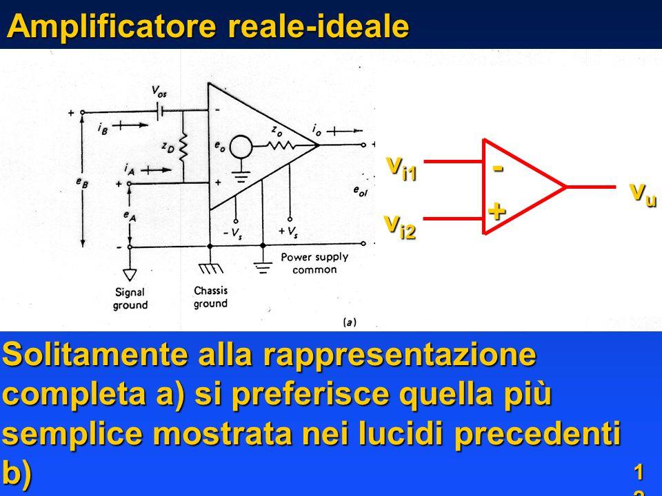 1212 Amplificatore reale-ideale Solitamente alla rappresentazione completa a) si preferisce quella più semplice mostrata nei lucidi precedenti b) v i1