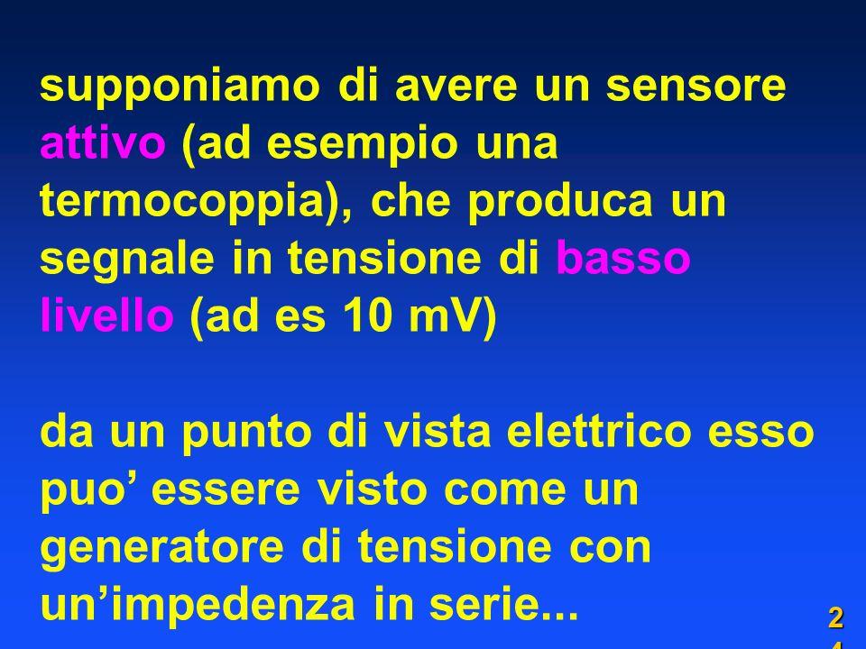 supponiamo di avere un sensore attivo (ad esempio una termocoppia), che produca un segnale in tensione di basso livello (ad es 10 mV) da un punto di vista elettrico esso puo essere visto come un generatore di tensione con unimpedenza in serie...