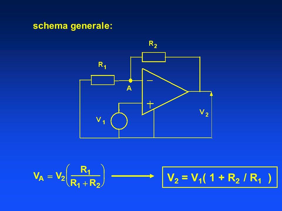 schema generale: V 2 = V 1 ( 1 + R 2 / R 1 ) V A V 2 R 1 R 1 R 2