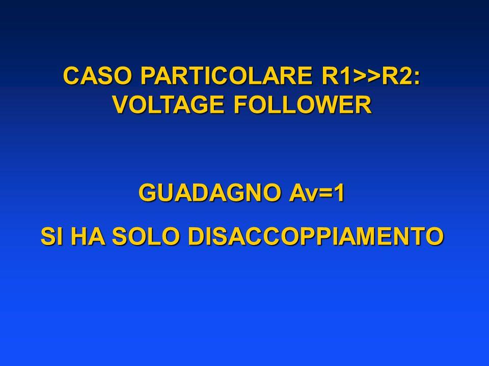 CASO PARTICOLARE R1>>R2: VOLTAGE FOLLOWER GUADAGNO Av=1 SI HA SOLO DISACCOPPIAMENTO