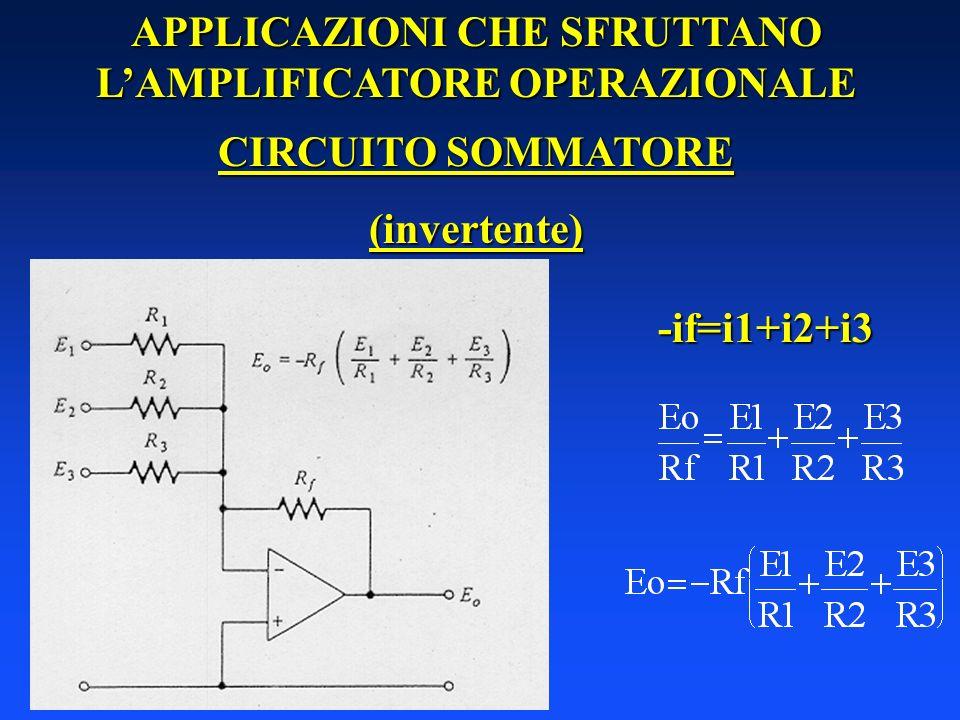 APPLICAZIONI CHE SFRUTTANO LAMPLIFICATORE OPERAZIONALE CIRCUITO SOMMATORE (invertente) -if=i1+i2+i3
