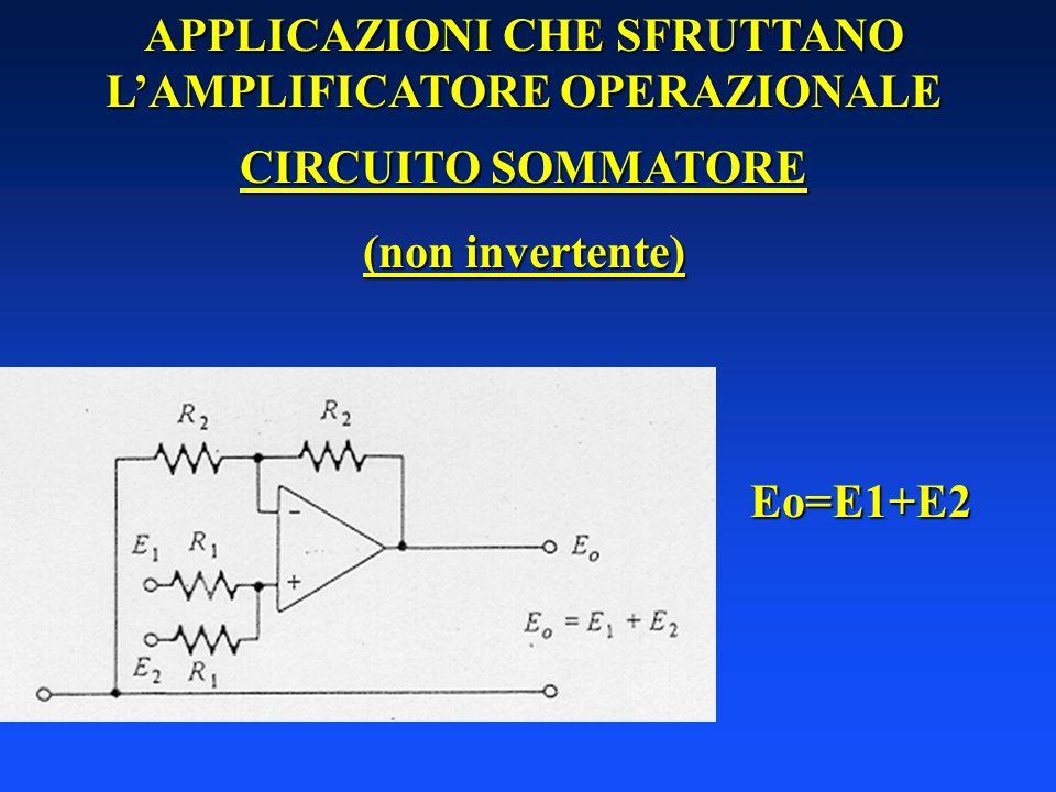 APPLICAZIONI CHE SFRUTTANO LAMPLIFICATORE OPERAZIONALE CIRCUITO SOMMATORE (non invertente) Eo=E1+E2