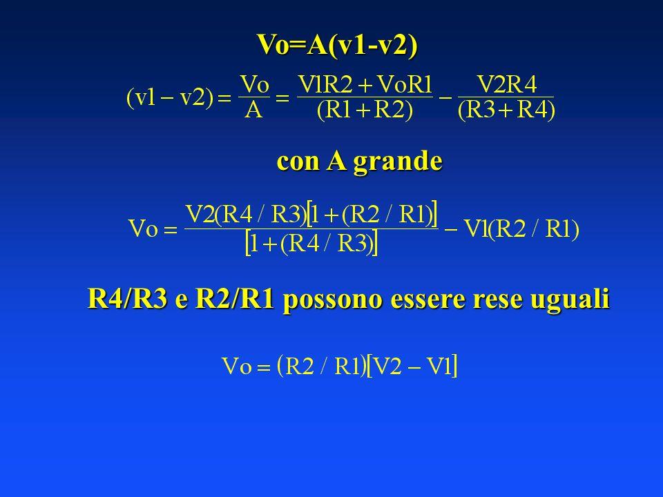 Vo=A(v1-v2) con A grande R4/R3 e R2/R1 possono essere rese uguali