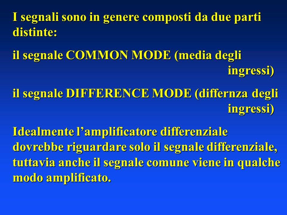 I segnali sono in genere composti da due parti distinte: il segnale COMMON MODE (media degli ingressi) il segnale DIFFERENCE MODE (differnza degli ingressi) Idealmente lamplificatore differenziale dovrebbe riguardare solo il segnale differenziale, tuttavia anche il segnale comune viene in qualche modo amplificato.