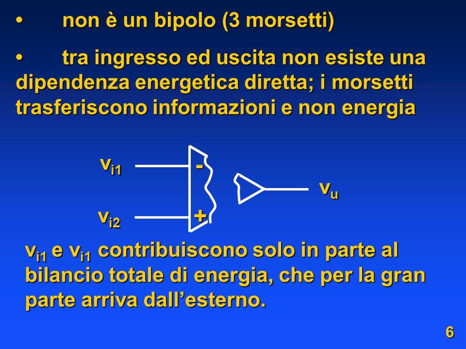 non è un bipolo (3 morsetti)non è un bipolo (3 morsetti) tra ingresso ed uscita non esiste una dipendenza energetica diretta; i morsetti trasferiscono informazioni e non energiatra ingresso ed uscita non esiste una dipendenza energetica diretta; i morsetti trasferiscono informazioni e non energia v i1 v i2 vuvuvuvu + - v i1 e v i1 contribuiscono solo in parte al bilancio totale di energia, che per la gran parte arriva dallesterno.
