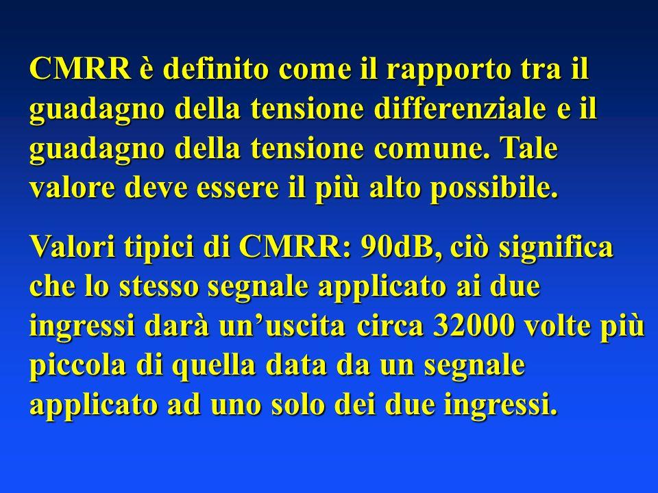 CMRR è definito come il rapporto tra il guadagno della tensione differenziale e il guadagno della tensione comune. Tale valore deve essere il più alto