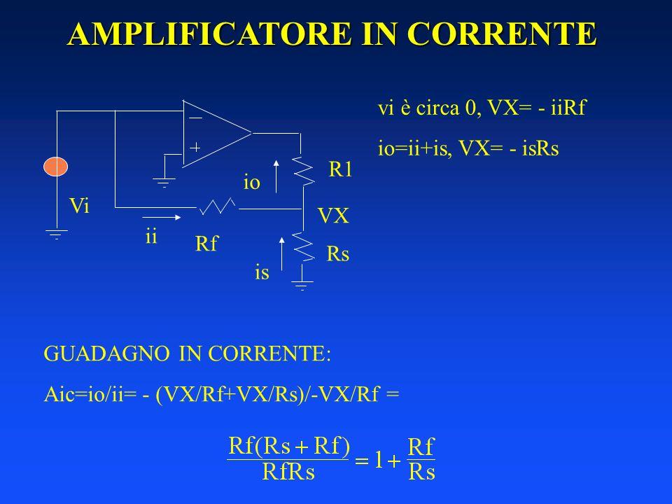 AMPLIFICATORE IN CORRENTE R1 Vi Rf Rs ii io is vi è circa 0, VX= - iiRf io=ii+is, VX= - isRs VX GUADAGNO IN CORRENTE: Aic=io/ii= - (VX/Rf+VX/Rs)/-VX/R