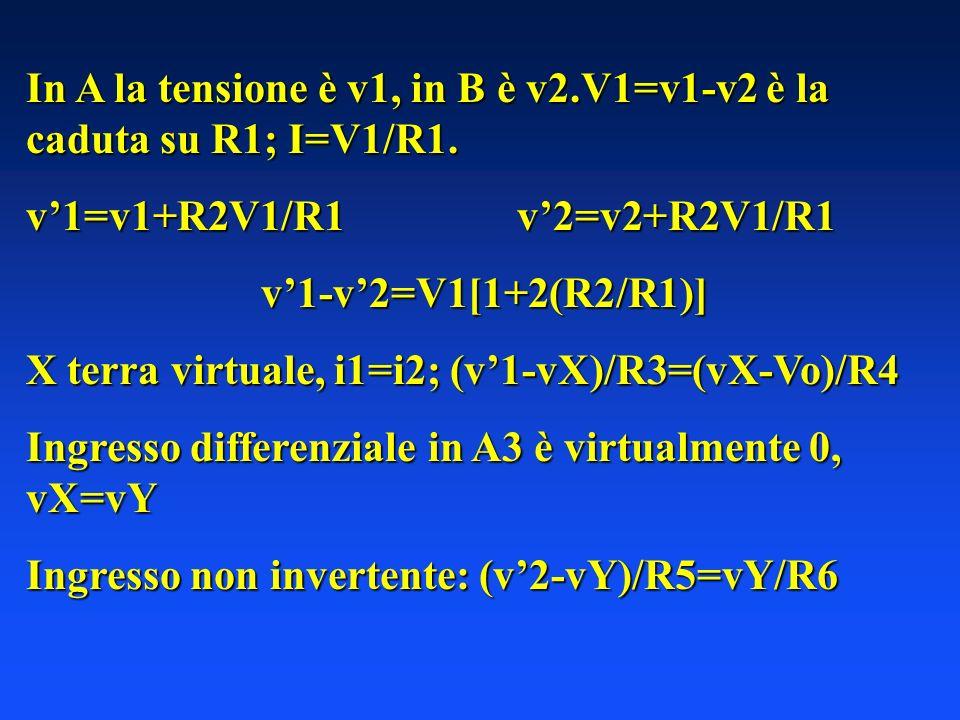 In A la tensione è v1, in B è v2.V1=v1-v2 è la caduta su R1; I=V1/R1. v1=v1+R2V1/R1 v2=v2+R2V1/R1 v1-v2=V1[1+2(R2/R1)] X terra virtuale, i1=i2; (v1-vX