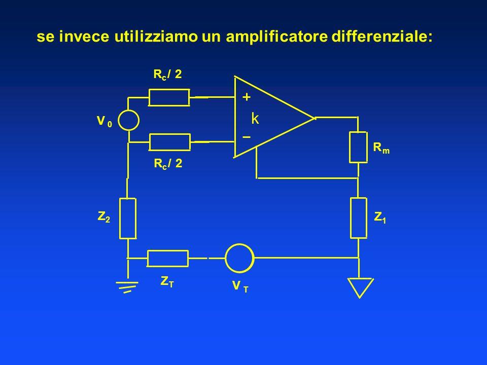 se invece utilizziamo un amplificatore differenziale: V 0 R m Z 1 R c /2 R c /2 k V T Z T Z 2