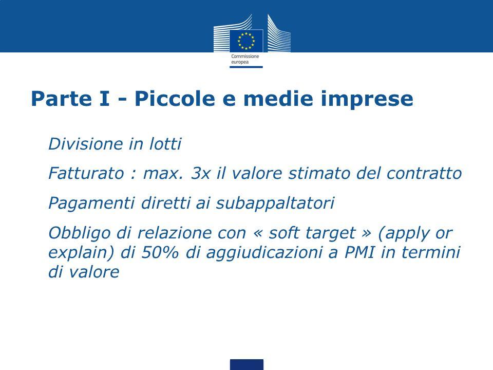 Parte I - Piccole e medie imprese Divisione in lotti Fatturato : max.