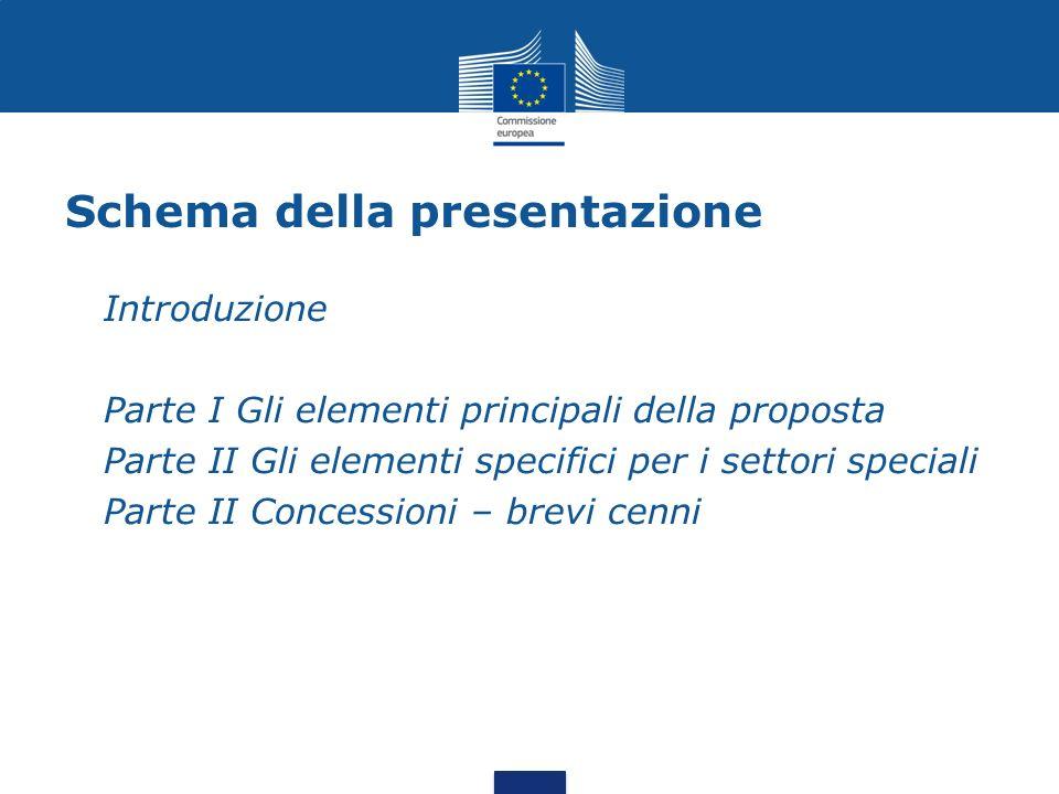 Schema della presentazione Introduzione Parte I Gli elementi principali della proposta Parte II Gli elementi specifici per i settori speciali Parte II Concessioni – brevi cenni