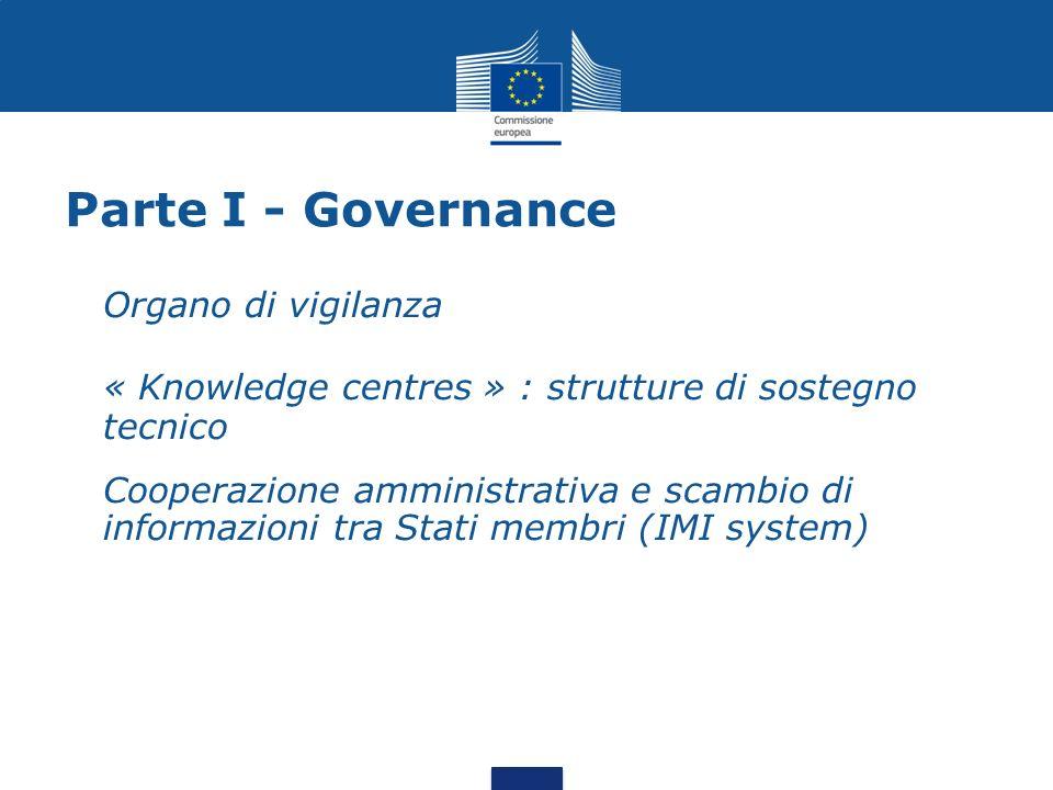 Parte I - Governance Organo di vigilanza « Knowledge centres » : strutture di sostegno tecnico Cooperazione amministrativa e scambio di informazioni tra Stati membri (IMI system)
