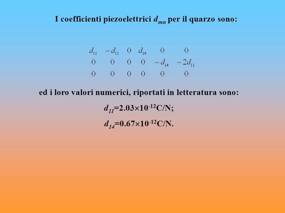 I coefficienti piezoelettrici d mn per il quarzo sono: ed i loro valori numerici, riportati in letteratura sono: d 11 =2.03 10 -12 C/N; d 14 =0.67 10