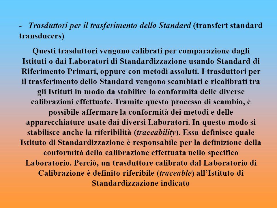 - Trasduttori per il trasferimento dello Standard (transfert standard transducers) Questi trasduttori vengono calibrati per comparazione dagli Istitut