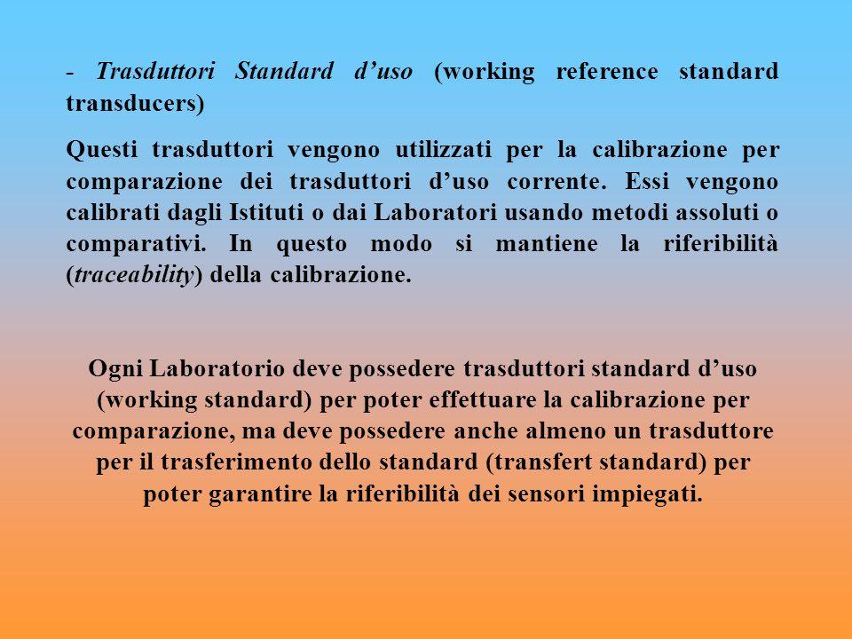 - Trasduttori Standard duso (working reference standard transducers) Questi trasduttori vengono utilizzati per la calibrazione per comparazione dei tr