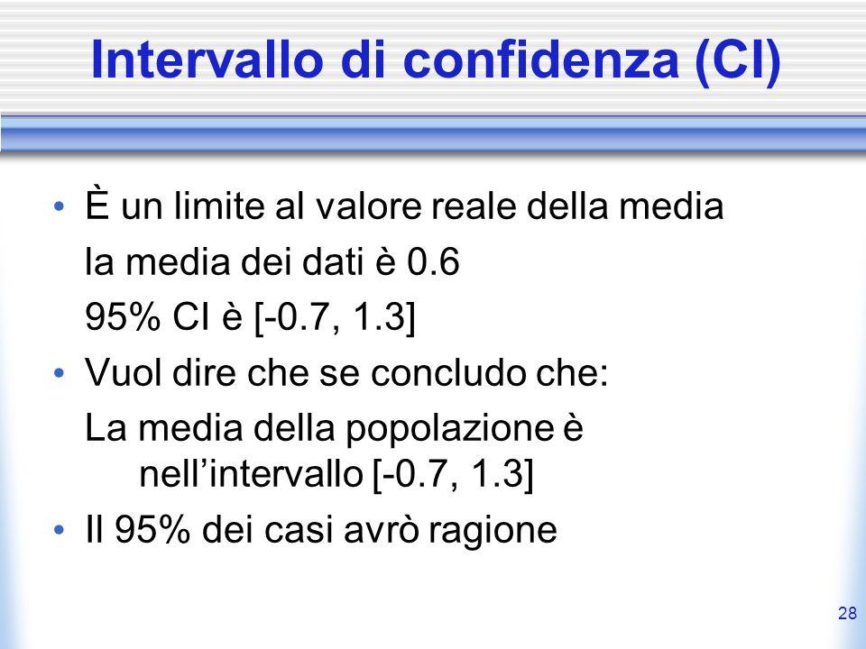 Intervallo di confidenza (CI) È un limite al valore reale della media la media dei dati è 0.6 95% CI è [-0.7, 1.3] Vuol dire che se concludo che: La media della popolazione è nellintervallo [-0.7, 1.3] Il 95% dei casi avrò ragione 28