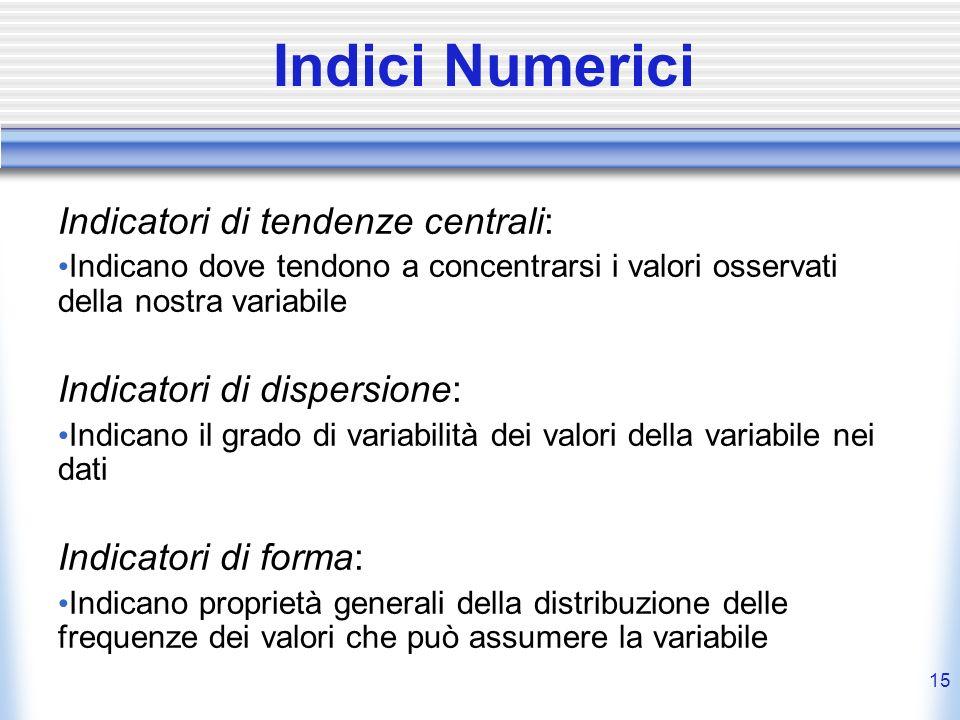 15 Indici Numerici Indicatori di tendenze centrali: Indicano dove tendono a concentrarsi i valori osservati della nostra variabile Indicatori di dispe