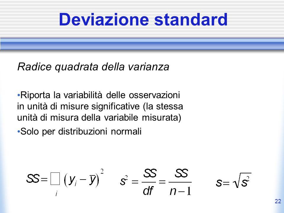 22 Deviazione standard Radice quadrata della varianza Riporta la variabilità delle osservazioni in unità di misure significative (la stessa unità di m