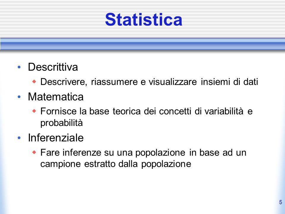 5 Statistica Descrittiva Descrivere, riassumere e visualizzare insiemi di dati Matematica Fornisce la base teorica dei concetti di variabilità e proba