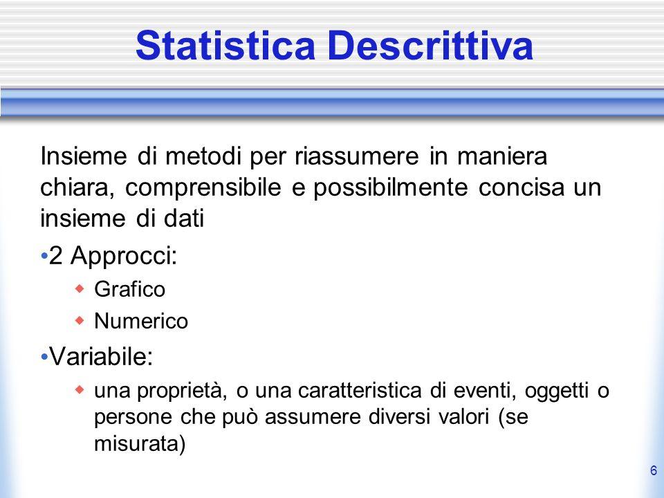 6 Statistica Descrittiva Insieme di metodi per riassumere in maniera chiara, comprensibile e possibilmente concisa un insieme di dati 2 Approcci: Graf