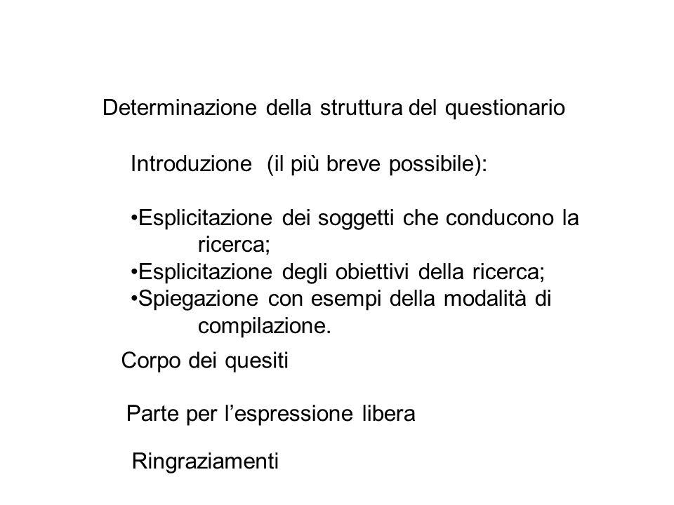 Determinazione della struttura del questionario Introduzione (il più breve possibile): Esplicitazione dei soggetti che conducono la ricerca; Esplicita