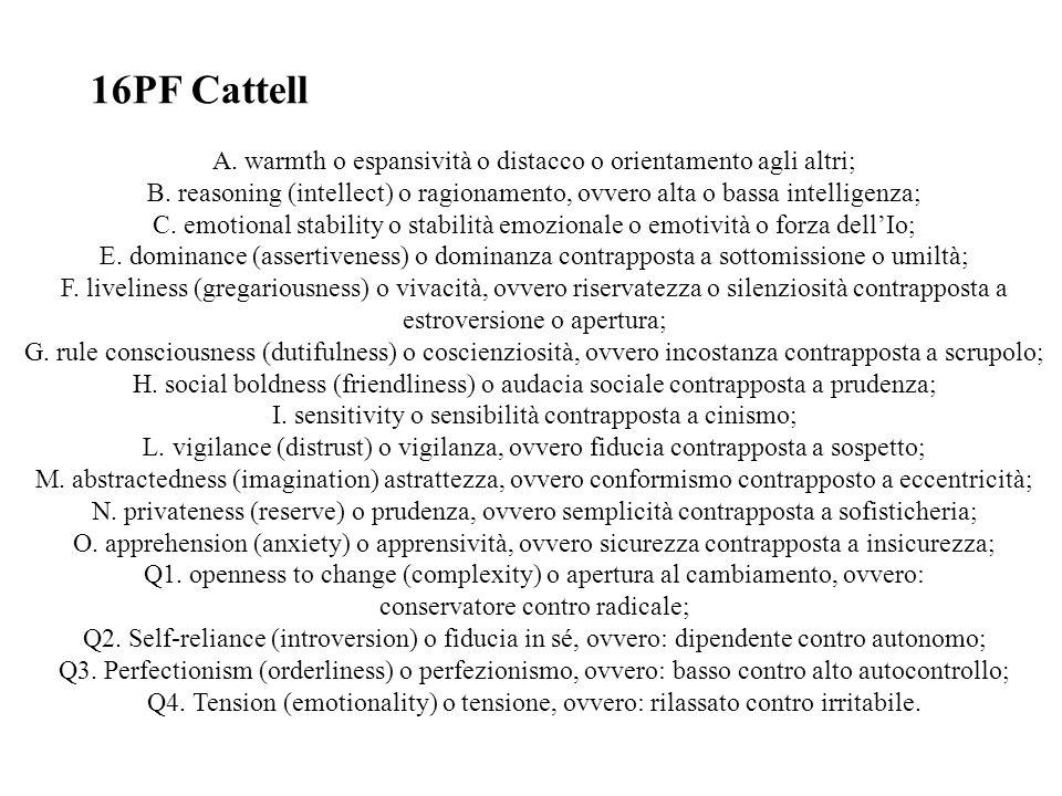 16PF Cattell A. warmth o espansività o distacco o orientamento agli altri; B. reasoning (intellect) o ragionamento, ovvero alta o bassa intelligenza;