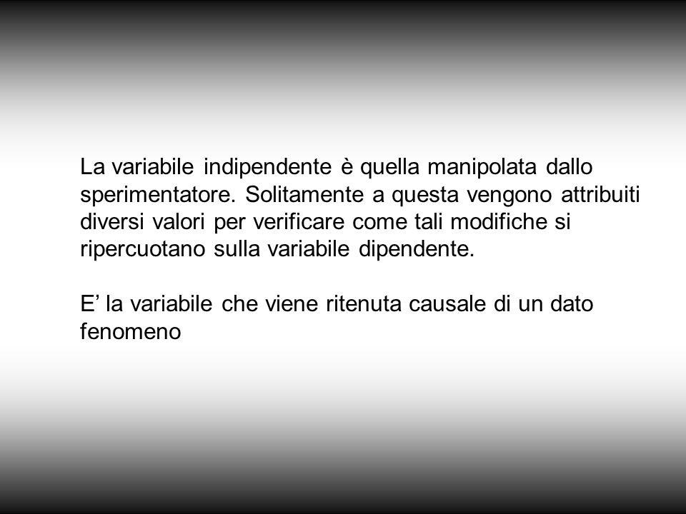La variabile indipendente è quella manipolata dallo sperimentatore. Solitamente a questa vengono attribuiti diversi valori per verificare come tali mo