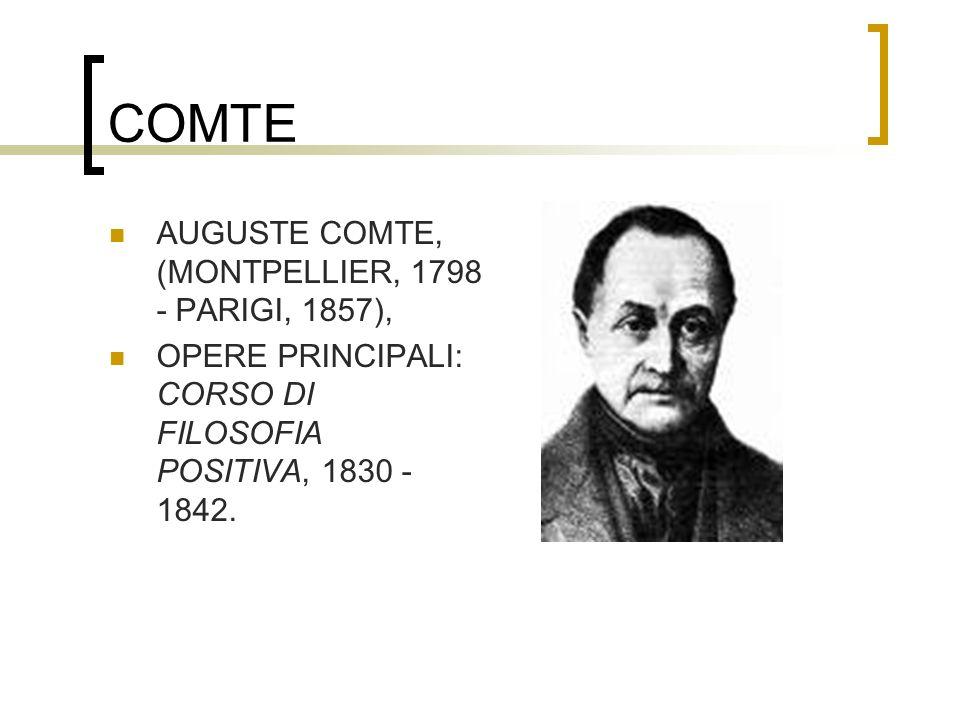 COMTE AUGUSTE COMTE, (MONTPELLIER, 1798 - PARIGI, 1857), OPERE PRINCIPALI: CORSO DI FILOSOFIA POSITIVA, 1830 - 1842.